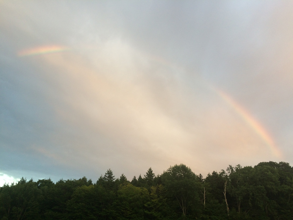 Awesome rainbow over camp the night before the race