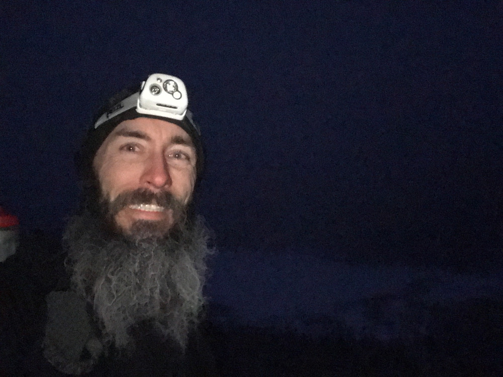 Greg Selfie at the Greenleaf Hut in mostly dark