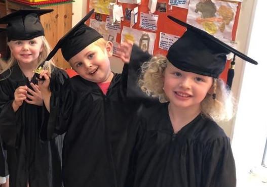 school leavers in graduation gowns