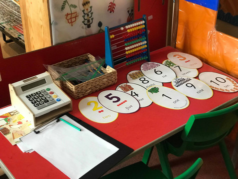 letter flash cards in the role play area