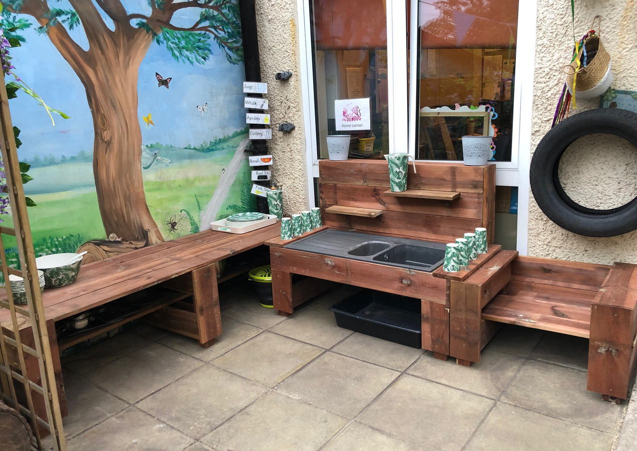 Our very own fresh vegetable and mud kitchen