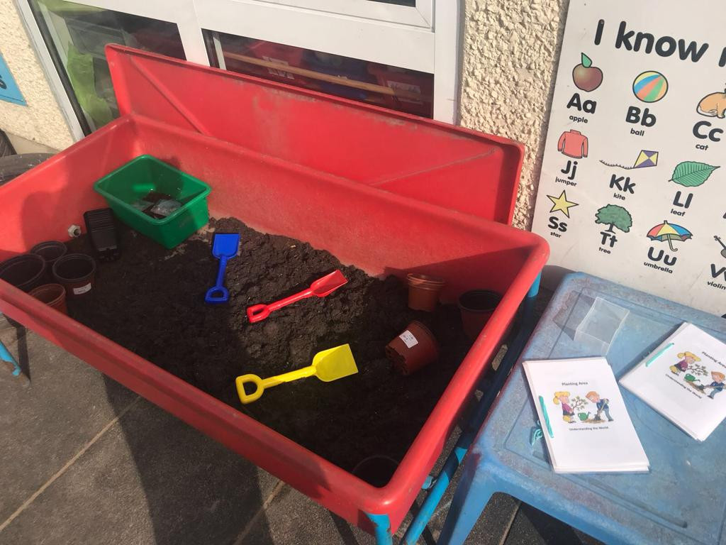digging and planting, learning about mini beasts and insects