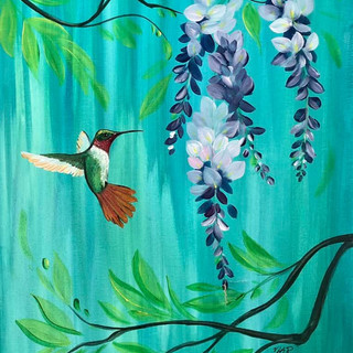 HUMMINGBIRD AND WISTERIA