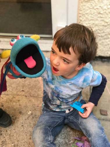 speech & language activities with puppets outside