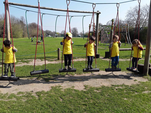 gross motor skills practised on the swings