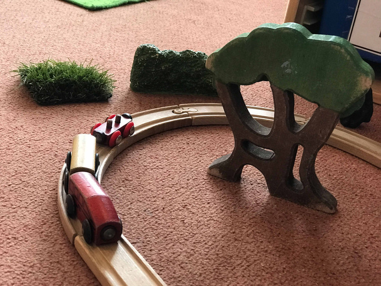 Our wooden train track helps us become engineers of the future!