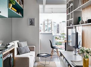 Reforma faz apartamento de 26 m² render.