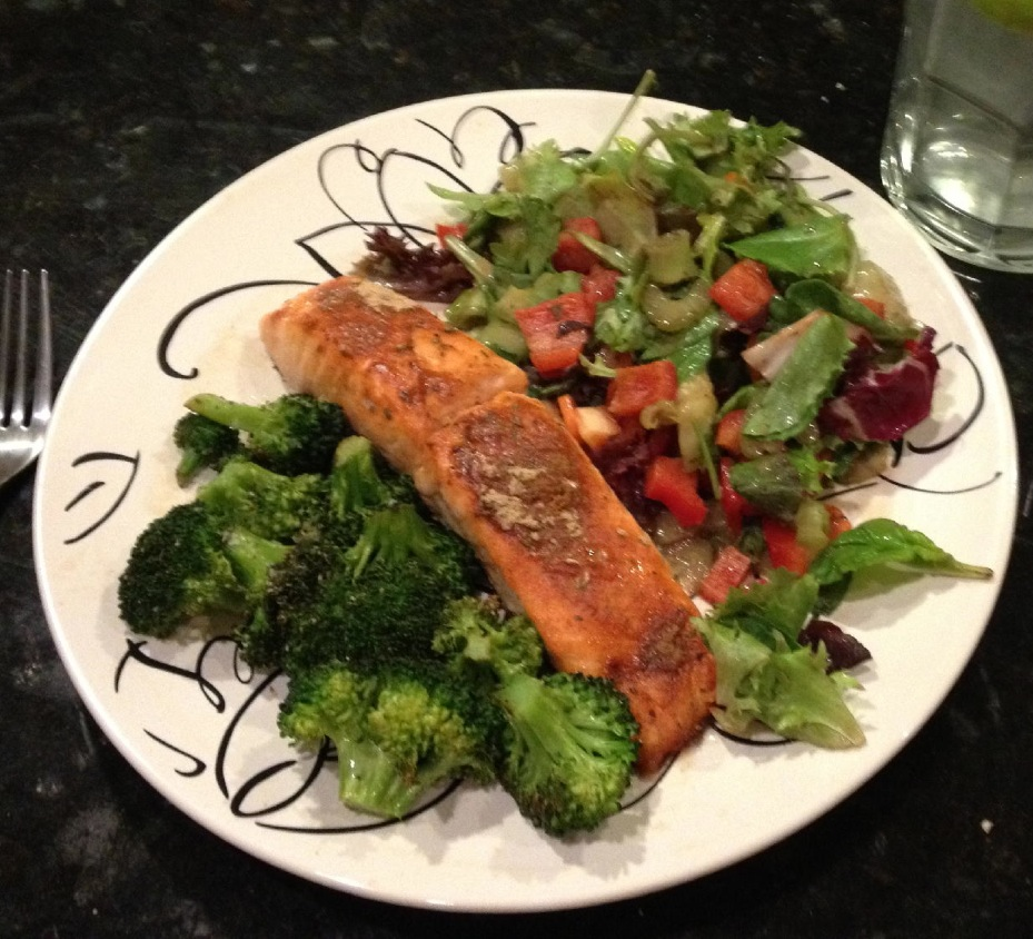 Salmon Salad and Broccoli
