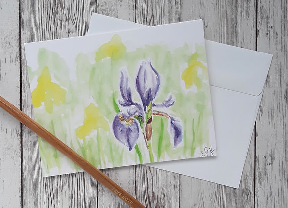 Purple Iris Card, Blank Card with White Envelope, 4 x 5.5 Inches