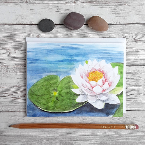 Lotus Flower Card, 4 x 5.5 Inch Blank Waterlily Card with White Envelope