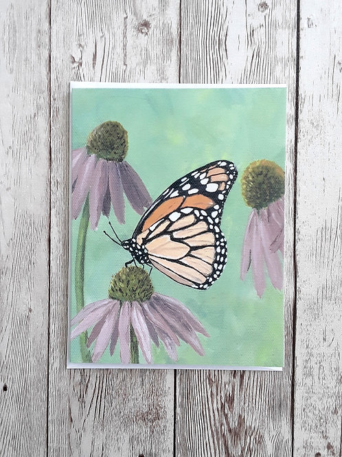 Monarch Butterfly Card, Butterfly and Flowers Blank Greeting Card