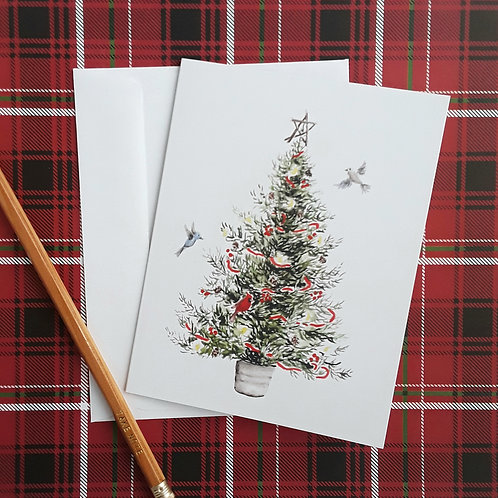 Christmas Tree Watercolor Blank Cards