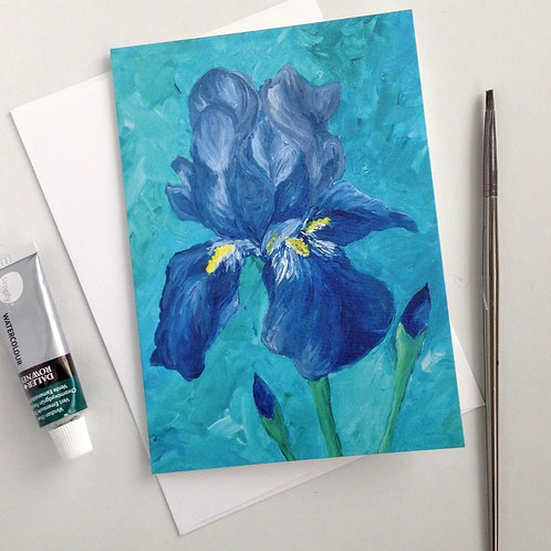 Purple Iris Blank Card