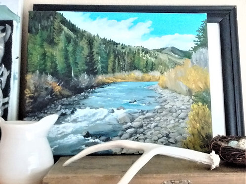 River Through the Woods Original 11 x 14 Inch Oil Painting, Yellowstone Art