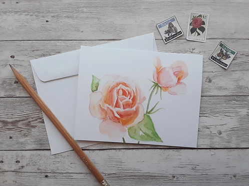 Rose Note Card, 4 x 5.5 Inch Blank Valentine's Card with White Envelope