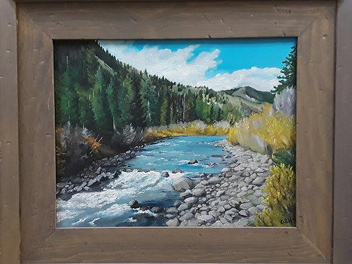 River Through the Woods Original 11 x 14 Inch Oil Painting, Colorado Art