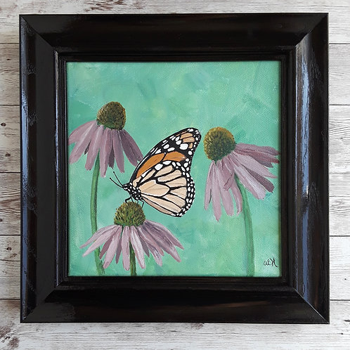 Monarch Butterfly Original Painting with Black Frame, Summer Art