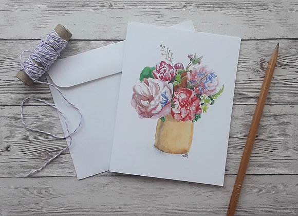 Floral Bouquet Blank Greeting Card with Envelope