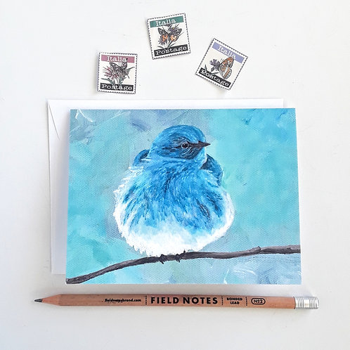 Blue Bird Card, Blank Card with White Envelope