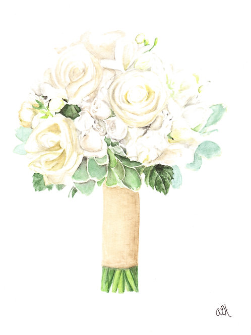 Bridal Bouquet Watercolor Painting, Wedding Bouquet Art, Wedding Gift