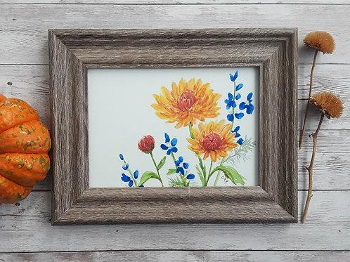 Chrysanthemum Original Watercolor Art, 5 x 7 Inch Framed Painting