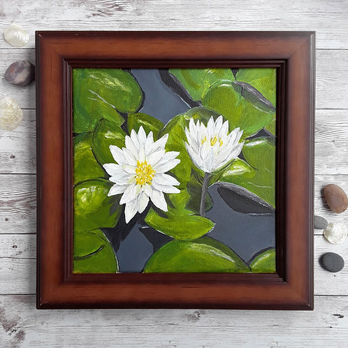 Waterlily Painting, 8 x 8 Inch Original Acrylic Art with Wood Frame