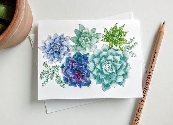 Succulent Card, Blank Greeting Card