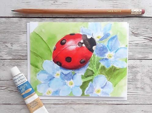 Ladybug and Forget-me-not Blank Greeting Card