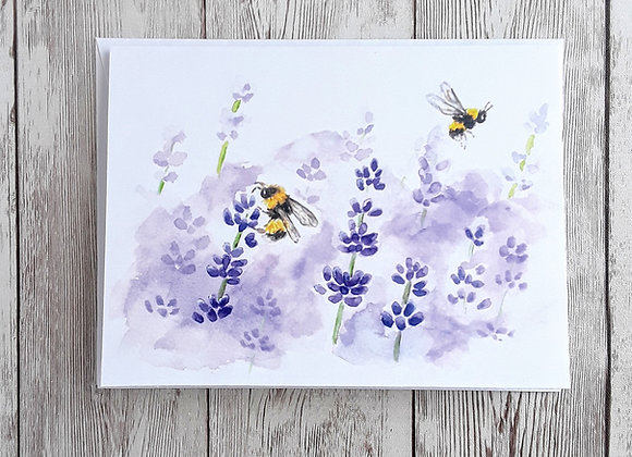 Lavender and Bumble Bee Card, Blank Greeting Card
