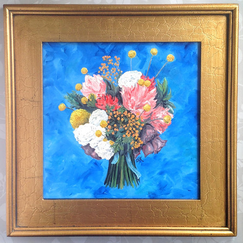Flower Bouquet Original Oil Painting with Frame, 17 x 17 Inches, Flowers Art