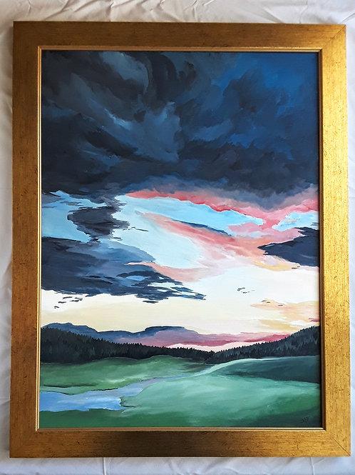Sunset over the Meadow Original Acrylic Art, Evening Sky Painting, Pink Sky Art,