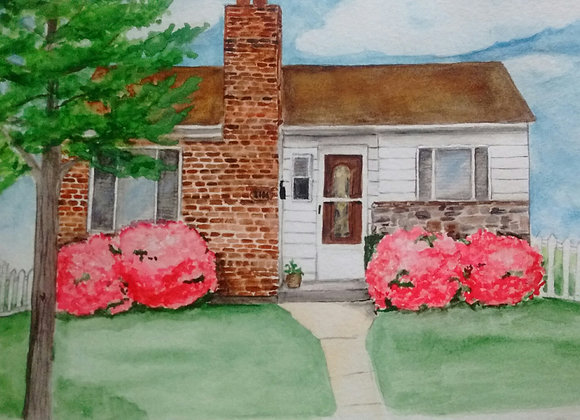 House Portrait Watercolor Original Art Painting