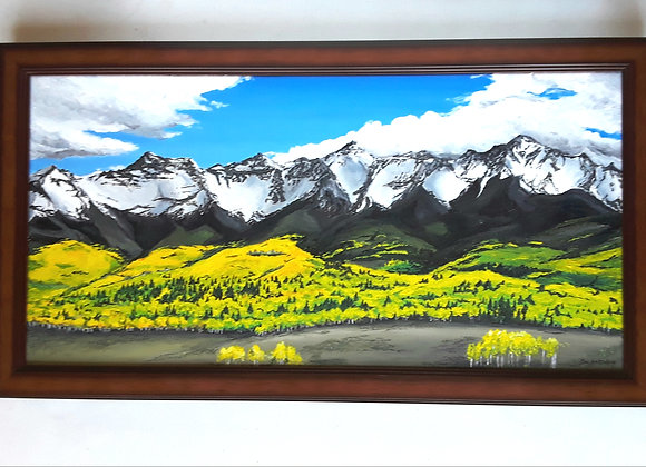 Western Mountain Range Original Framed Art