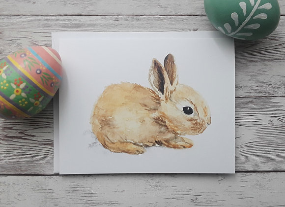 Bunny Rabbit Easter Card, Blank Spring Greeting Card and White Envelope, 4 x 5.5
