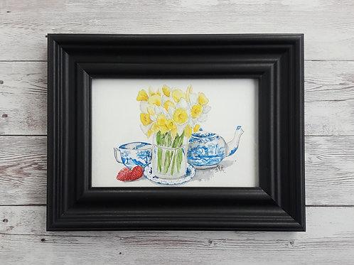 Daffodil and Tea Cups Original Watercolor Original Art, 4 x 6 Inch Painting