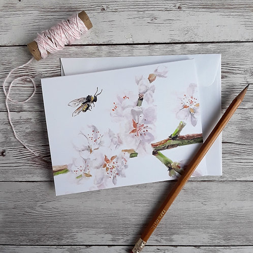 Spring Cherry Blossom and Bumble Bee Blank Card with White Envelope