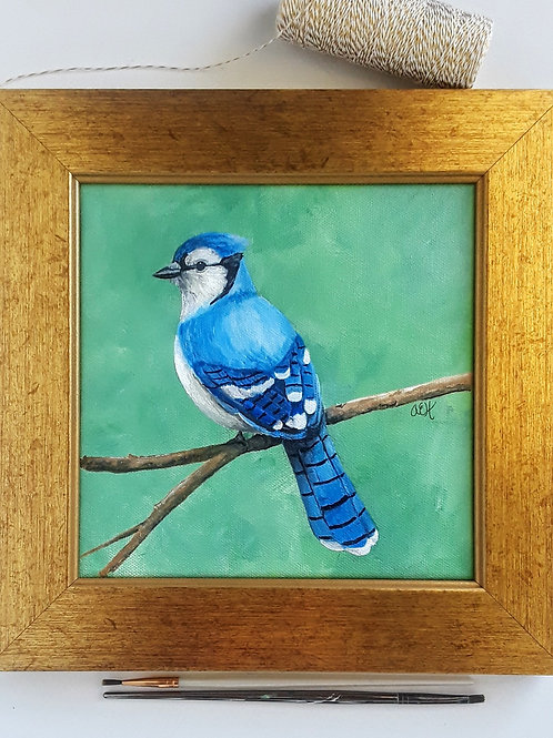 Blue Jay Art, Original Acrylic Painting, Blue Bird