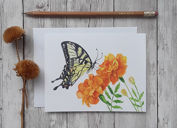 Marigold and Swallowtail Butterfly Blank Note Card with White Envelope, 4 x 5.5