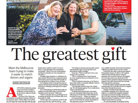 The Greatest Gift - Newspaper Article