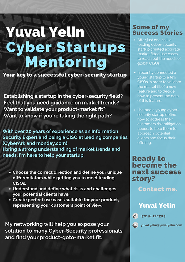 Yuval Yelin - Cyber Startups Mentoring F
