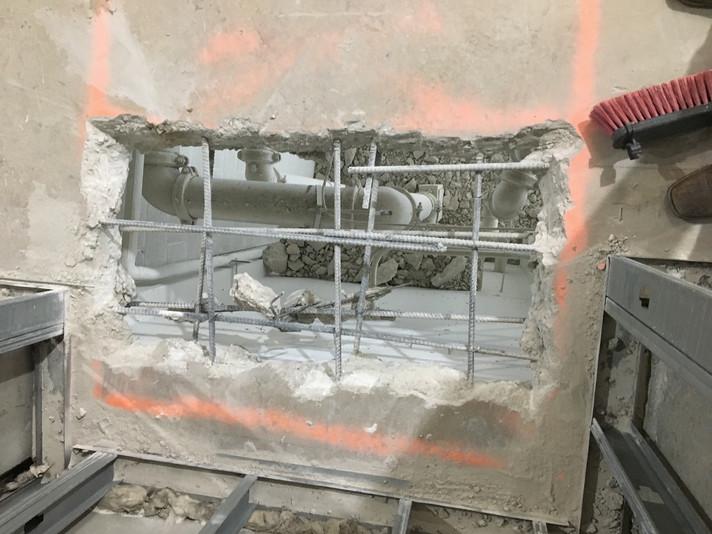 Progress Photo - holes for sprinkler ris