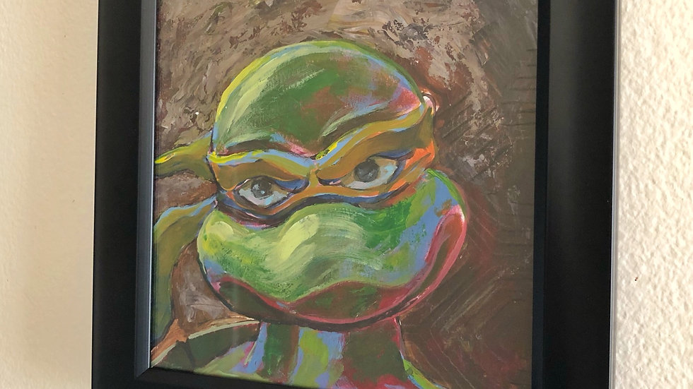 "Turtle Power - 8""x8"", acrylic and pastel,  hang ready framed"