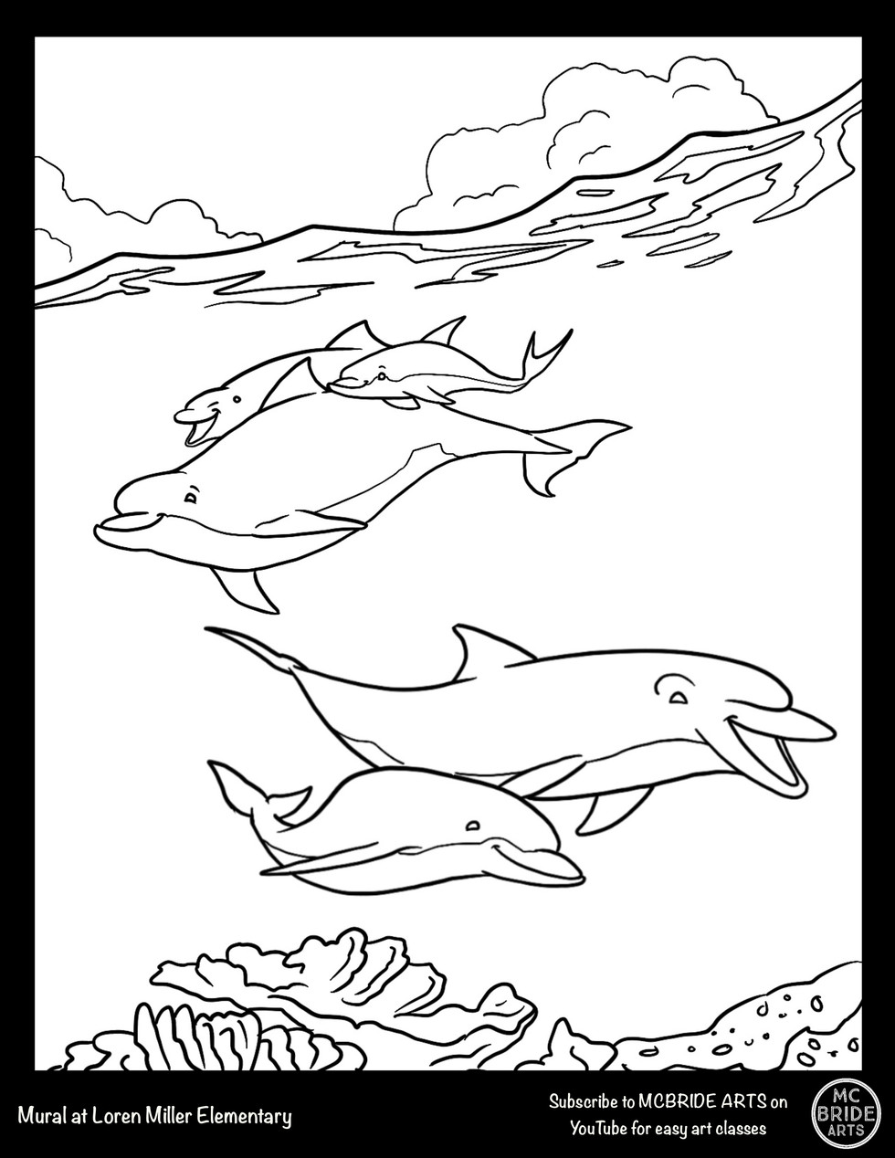 Loren Miller Dolphins Mural Coloring Page