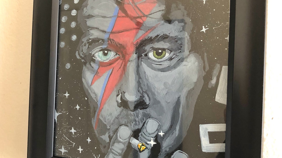 "Bowie - 8""x8"", acrylic and pastel,  hang ready framed"