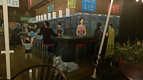Seoulmate Restaurant Night Market Mural.