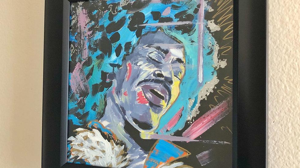 "Jimi - 8""x8"", acrylic and pastel,  hang ready framed"
