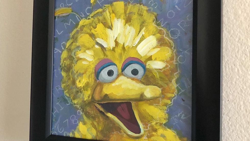 "Big Bird - 8""x8"", acrylic and pastel,  hang ready framed"