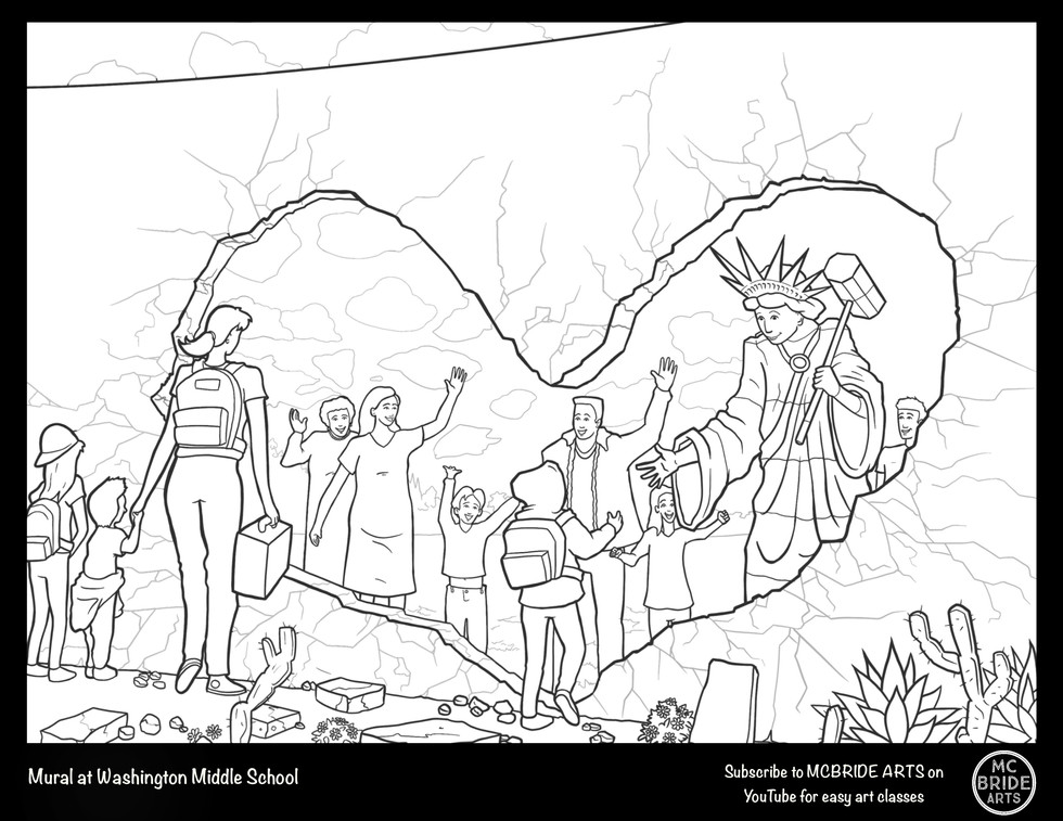 """Washington Middle """"Love Beyond Borders"""" Mural Coloring Page"""