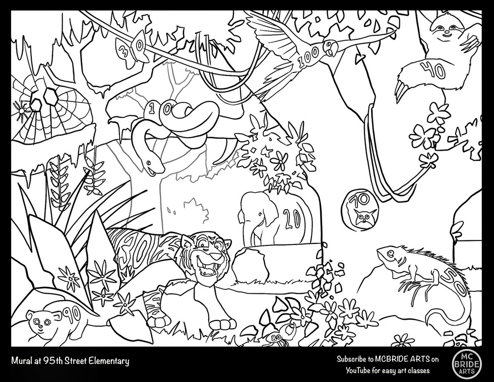 95th St Tigers Jungle Mural Coloring Page
