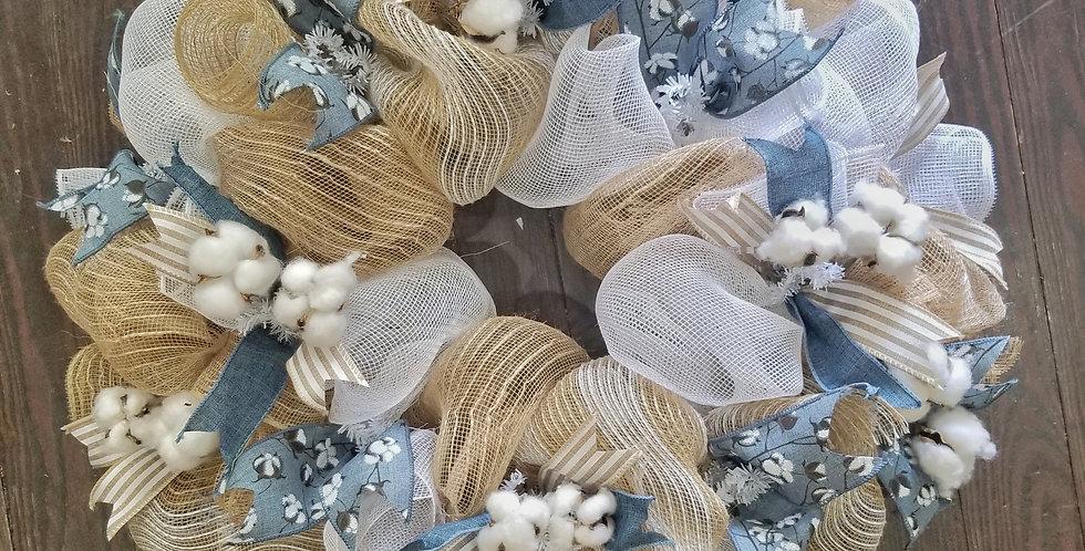 Cotton Theme Door Wreath